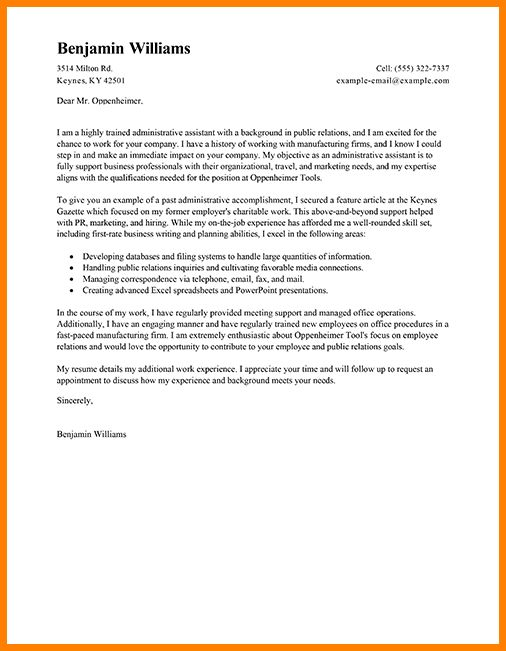 resume cover letter for executive assistant position