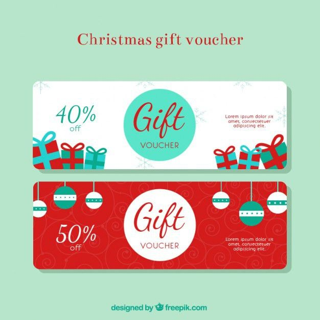 Christmas gift discount voucher Vector | Free Download