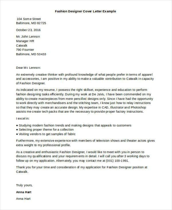 Designer Cover Letter - 9+ Free Word, PDF Format Download | Free ...
