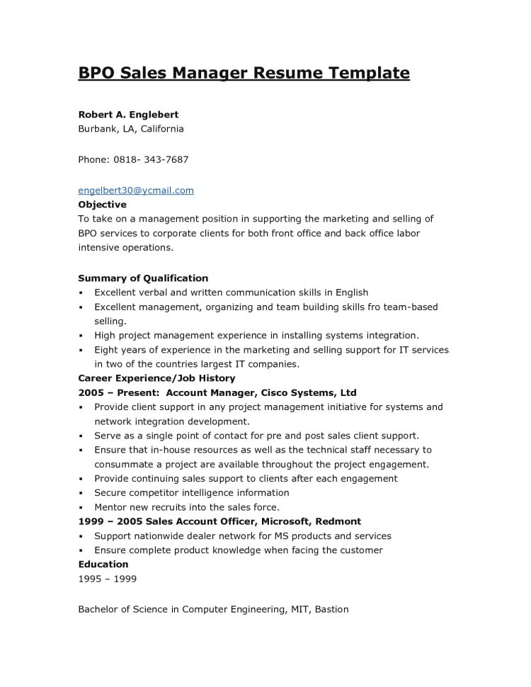 Sample Resume Format For Bpo Jobs Bpo Resume Resume Template Bpo ...