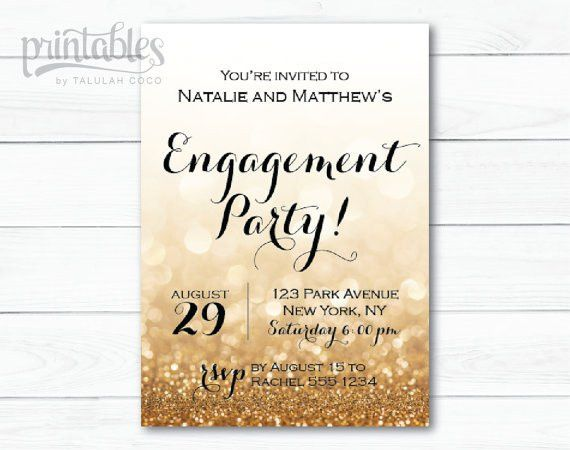 Engagement Party Invitation Printable Black and by PrintablesByTC ...