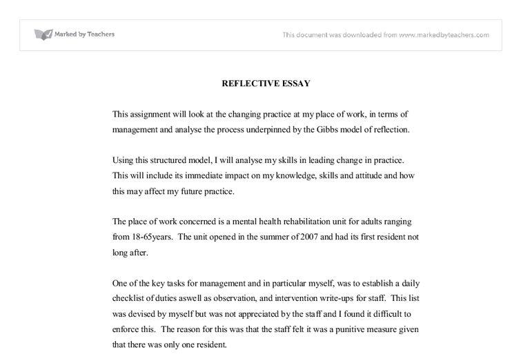 REFLECTIVE ESSAY ON LEADERSHIP IN MENTAL HEALTH - University ...