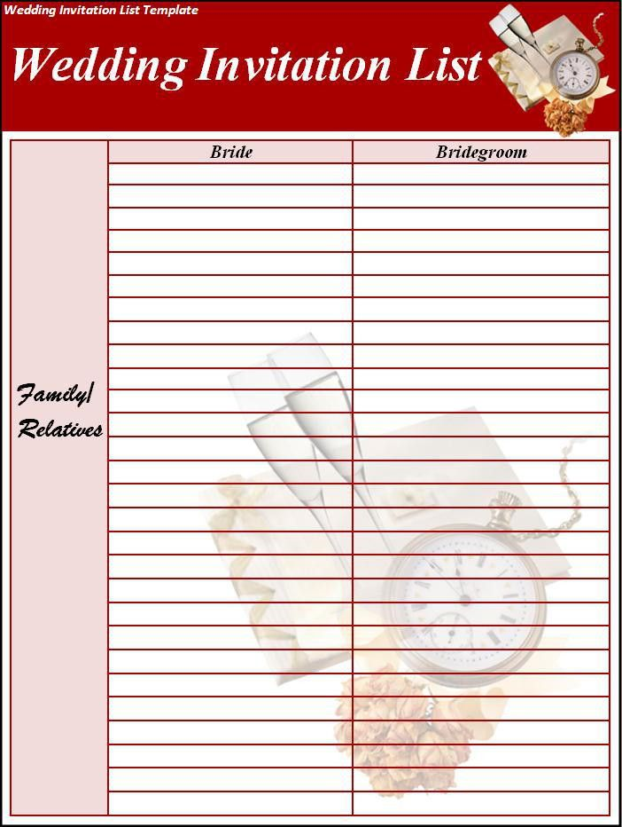Wedding Invitation List Template - Best Word Templates