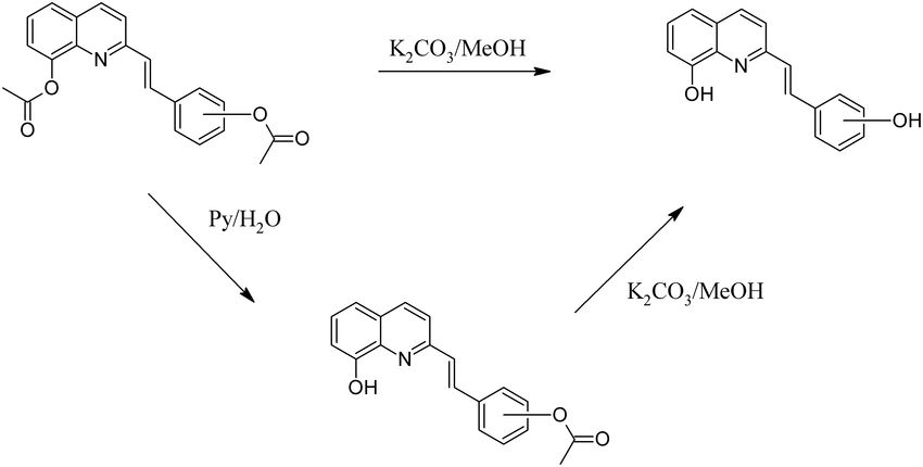 Selective hydrolysis of styrylquinolines. For example, compare 2b ...
