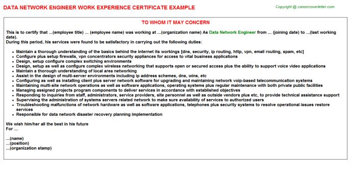 Network Support Engineer Cover Letter