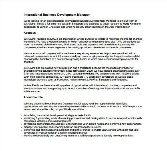 Business Development Job Description Template – 10+ Free Word, PDF ...