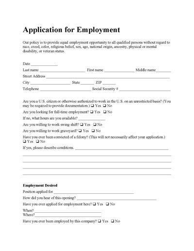 Free Employee Application Form | Microsoft word