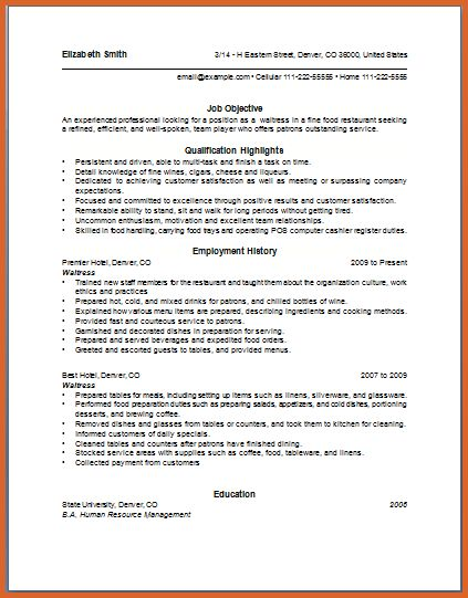 waitress sample resume waitress resume example sample resume - Restaurant Resume Objectives