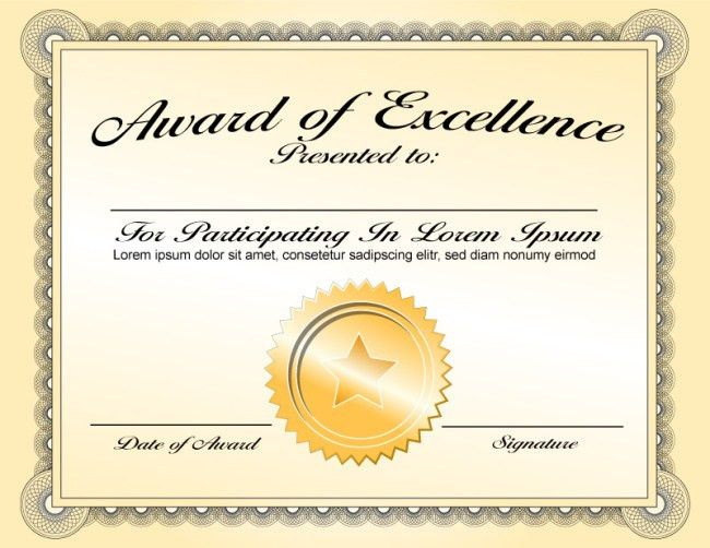 Best Classy Award of Excellence Certificate Template with Gold ...