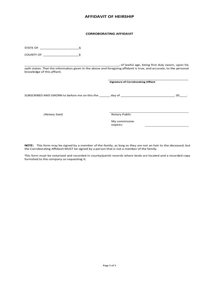 Free Download Affidavit Form Example with Personal Information and ...