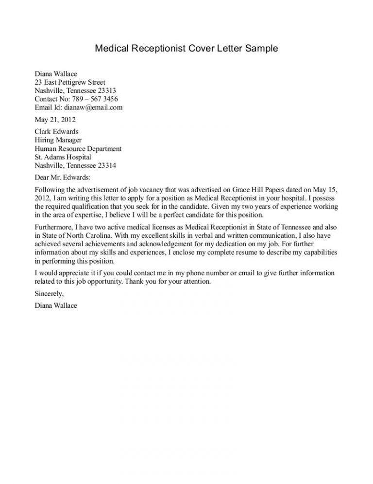 Stupendous Receptionist Cover Letter 10 Medical Sample - CV Resume ...