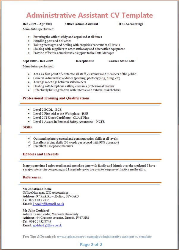 Administrative assistant cv - Business Proposal Templated ...