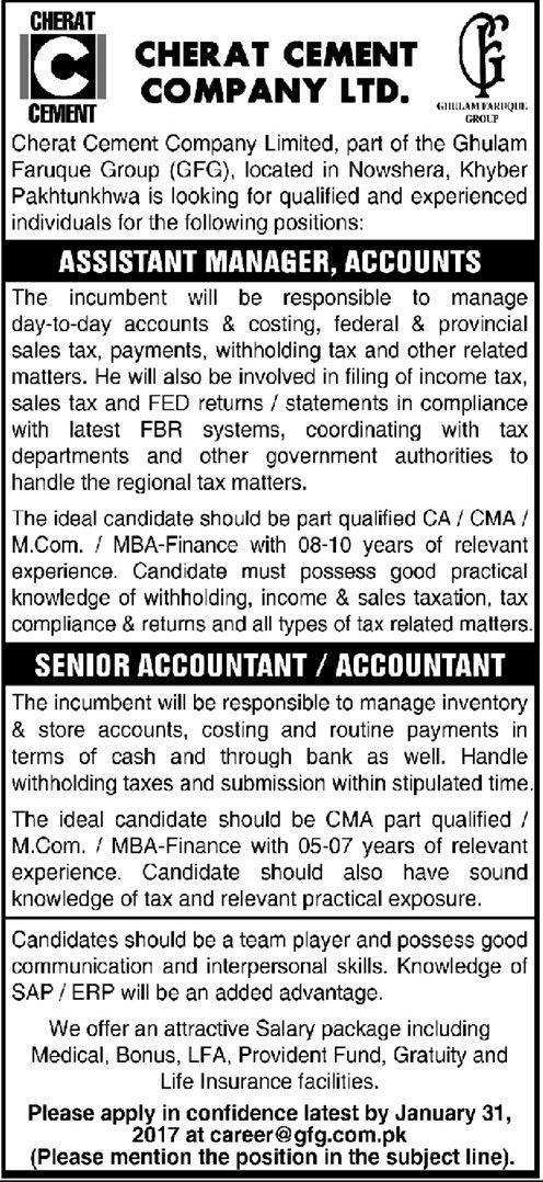 Jobs in Cherat Cement Company Limited 16 Jan 2017