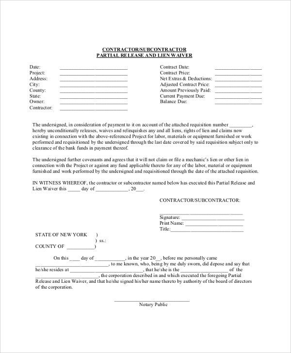 Sample Lien Waiver Form   8+ Examples In PDF, Word