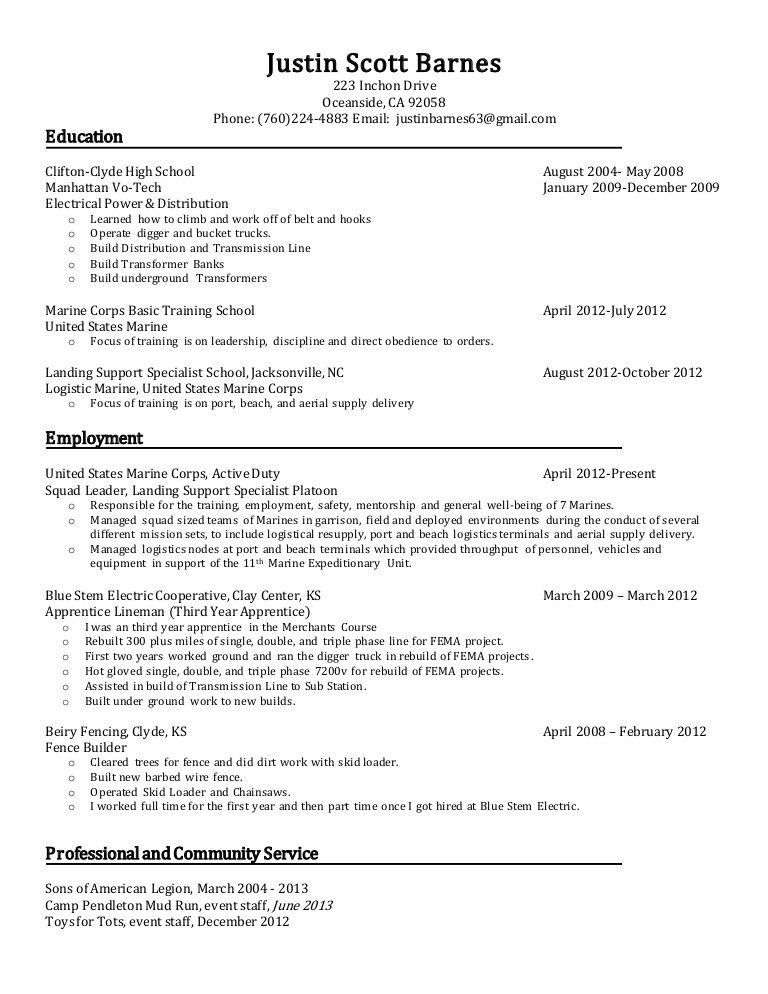 Classy Lineman Resume Impressive - Resume CV Cover Letter