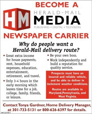 Carrier, Herald-mail, Hagerstown, MD
