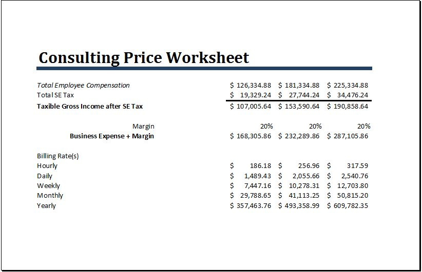 MS Excel Consulting Price Worksheet Template | Word & Excel Templates