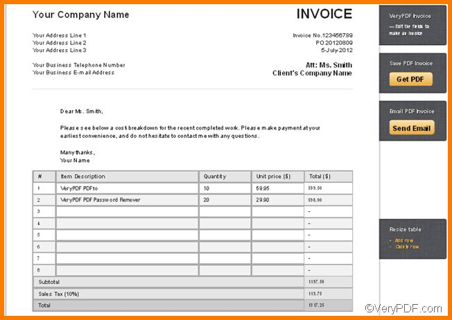 4+ Online Invoice Template | Receipt Templates