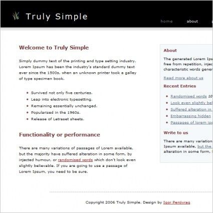 Truly Simple Template Free website templates in css, html, js ...