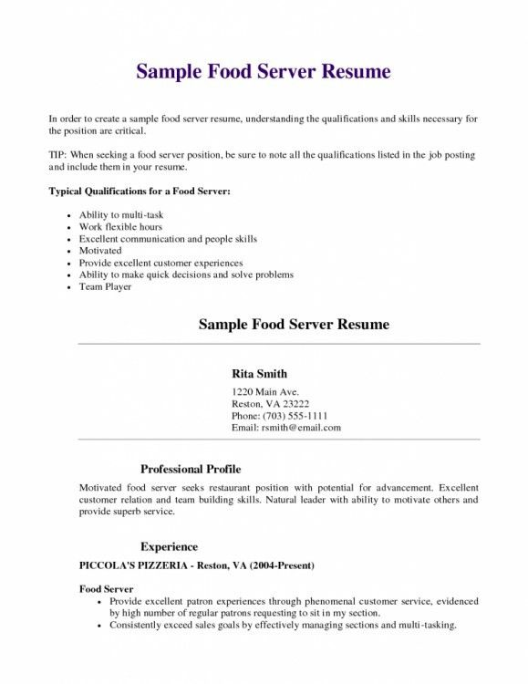 lead server resume resume for a bartender resume format for server ...