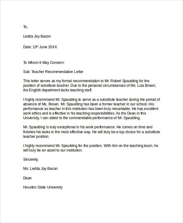 Formal Recommendation Letter Example - Compudocs.us