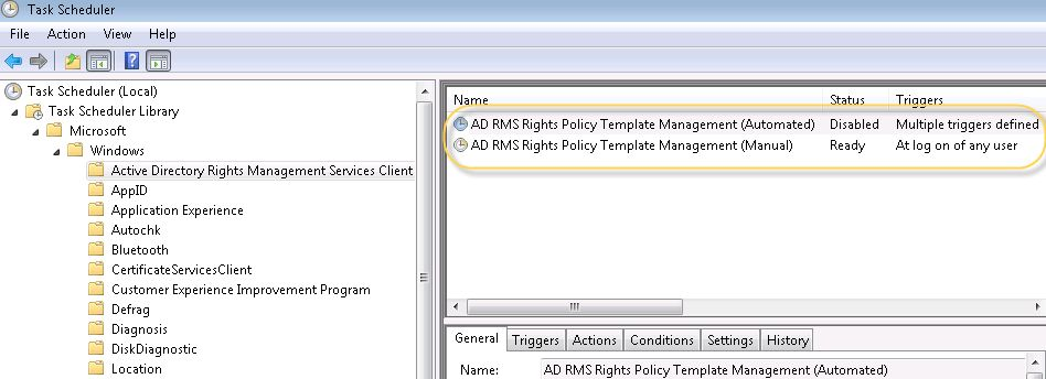 AD RMS: Unable to Copy the Template using Automated Task ...