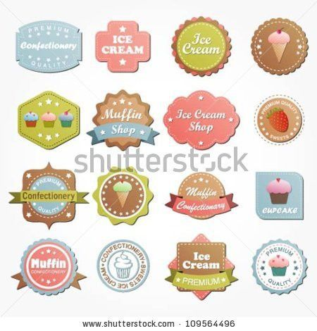 Collection Food Labels Badges Icons Vintage Stock Vector 116510068 ...