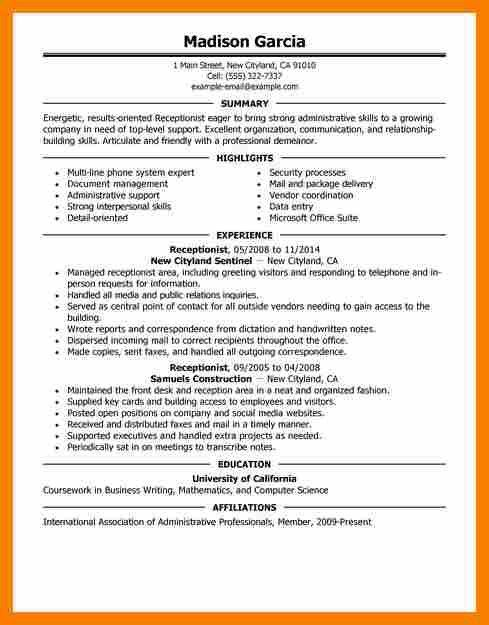 Receptionist Job Resume [Template.billybullock.us ]