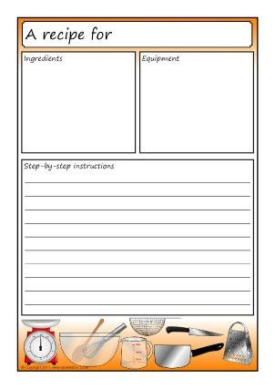 Recipe Writing Frames and Printable Page Borders KS1 & KS2 ...