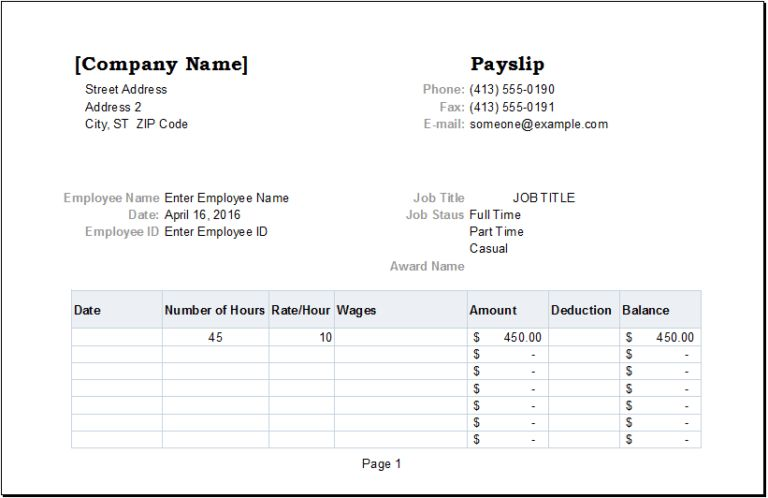 Well Designed Payslip Templates For Your Inspirations : vlashed