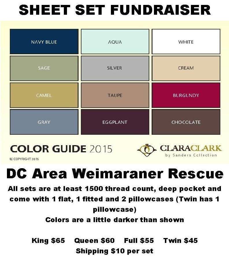 Clara Clark Sheet Set Fundraiser for DC Area Weimaraner Rescue ...