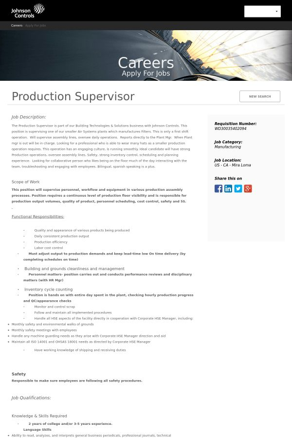 Production Supervisor job at Johnson Controls in Mira Loma, CA ...