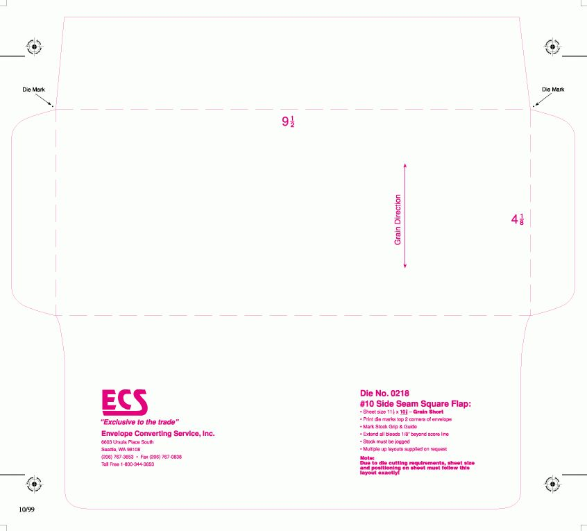 Envelope Converting Services Templates 9-02