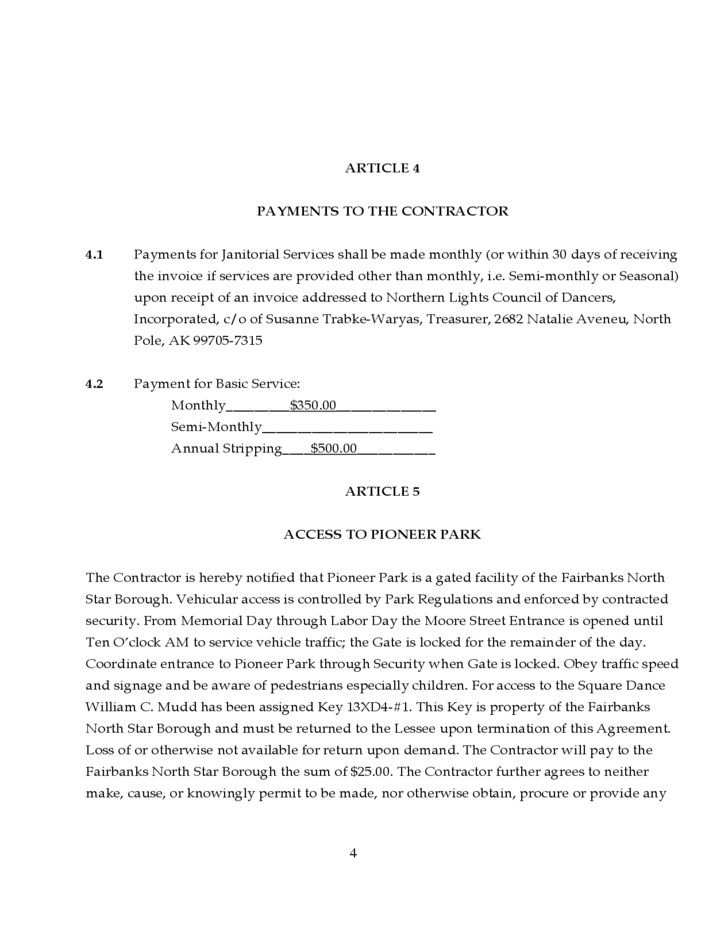 Janitorial Service Agreement Free Download