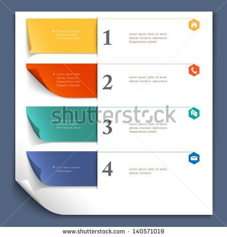 Paper Design Template Website Layoutnumbered Paper Stock Vector ...
