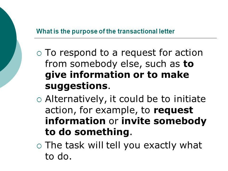 Informal transactional letter - ppt download