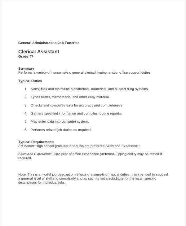 Clerk Job Description - 11+ Free Word, PDF Documents Download ...