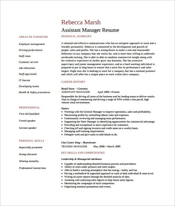 Sample Assistant Manager Resume - 9+ Free Documents in PDF