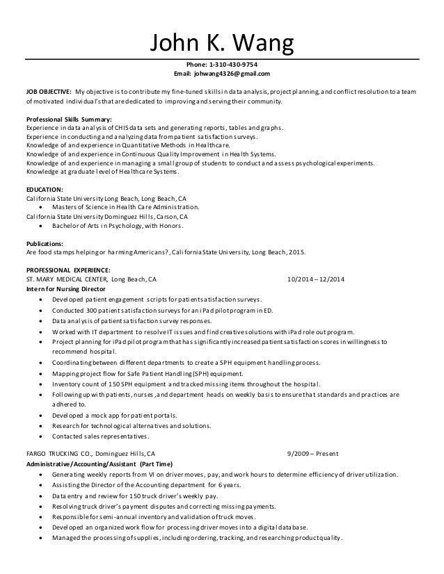 Resume Healthcare Admin