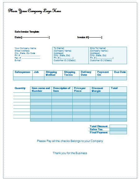 Sale Invoice Template - Easy Invoice Building