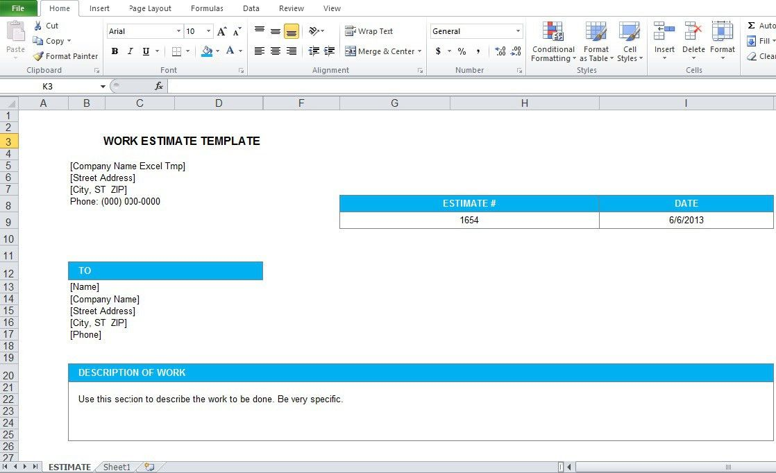 Work Estimate Template Excel Format - Excel Tmp