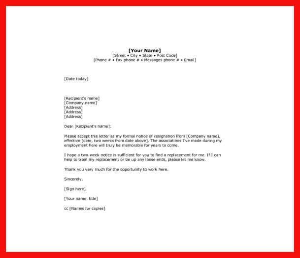 resignation notice example | apa example