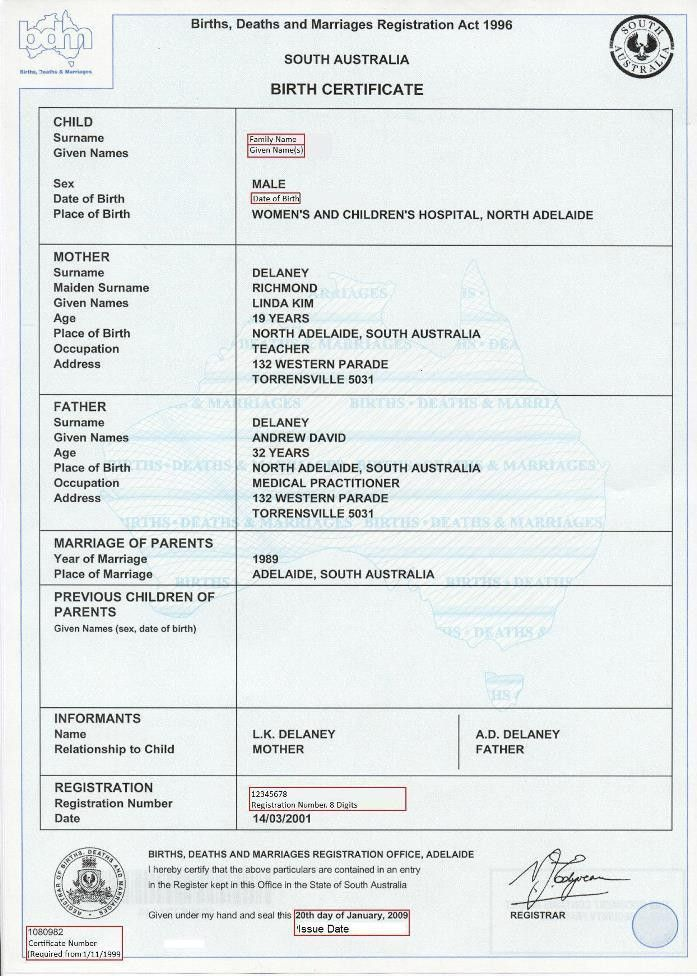 Birth Certificate (Australian)   Unique Student Identifier