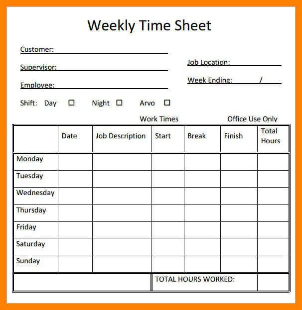 Sample Volunteer Timesheet Templete. Monthly Timesheet Template ...
