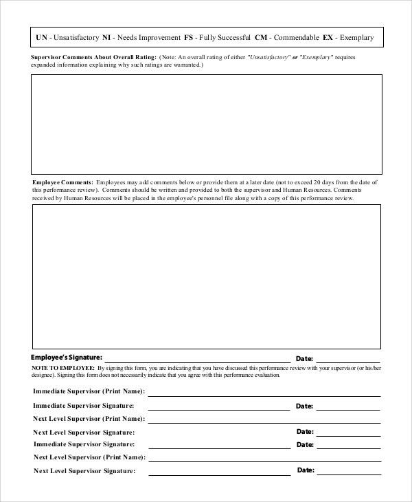 Sample Employee Evaluation Form - 7+ Documents in Word, PDF