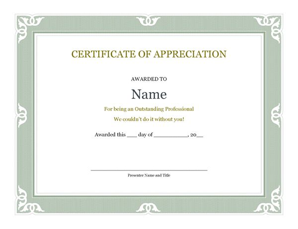 Certificate of appreciation words 30 free certificate of certificate of recognition for administrative professional negle Image collections