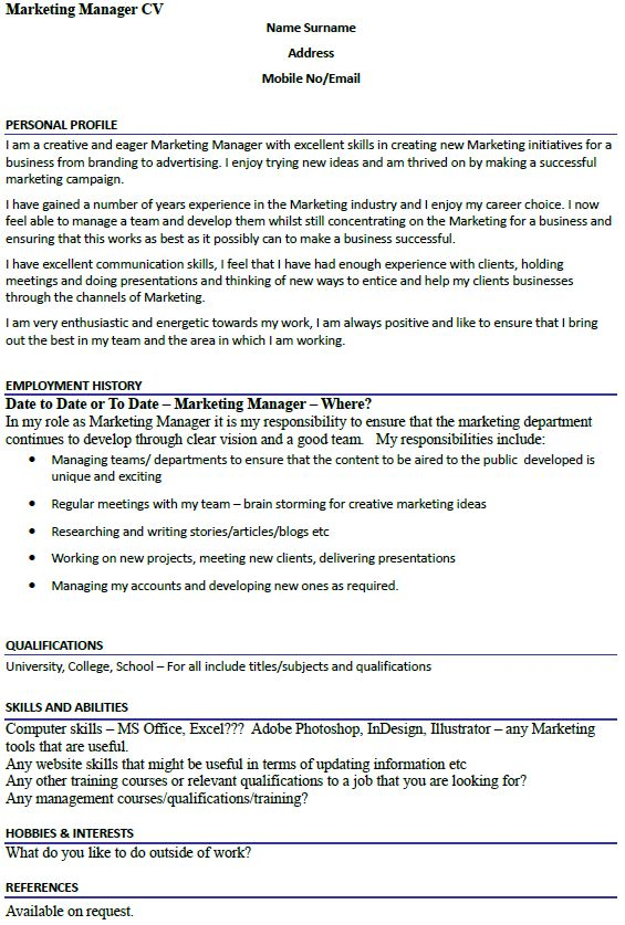 Marketing Manager CV Example - icover.org.uk