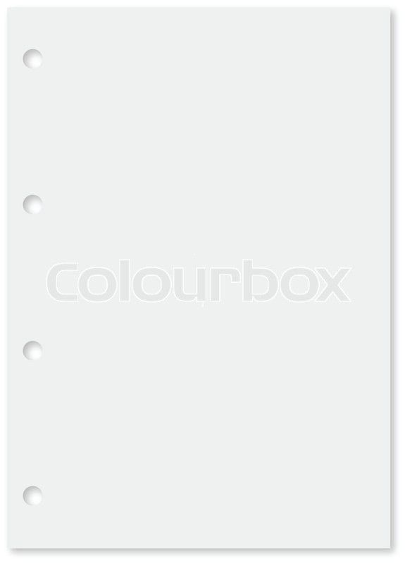 White sheet of lined paper with thin bue lines and holes in left ...