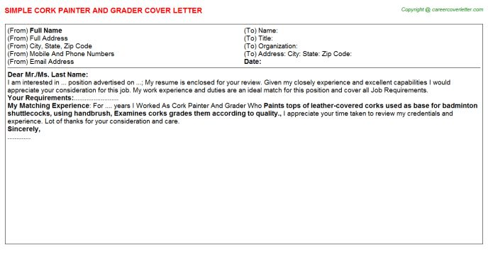 Cork Painter And Grader Cover Letter