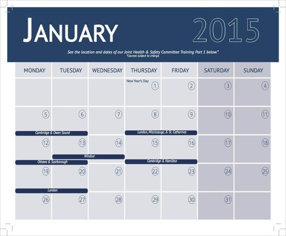 Training Calendar Template – 25+ Free Word, PDF, PSD Documents ...
